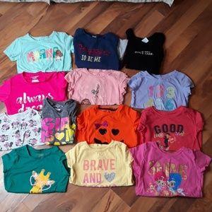 Lot of 13 girls shirts XS 5T 6X Bin5
